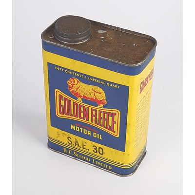 Vintage Golden Fleece Motor Oil SAE30 H. C. Sleigh Ltd One Imperial Quart Tin