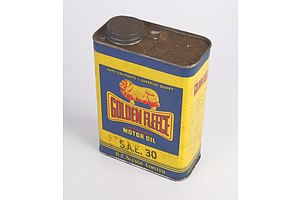Vintage Golden Fleece Motor Oil SAE30 H. C. Sleigh Ltd One Imperial Quart Tin