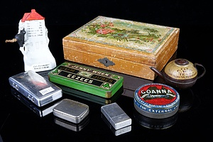 Three Vintage Razor Blade Canisters, Two Tins, Miniature Teapot, Ashtray and Box