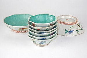 Antique Chinese Famille Rose Hexagonal Dishes with Turquoise Interiors, Circa 1900