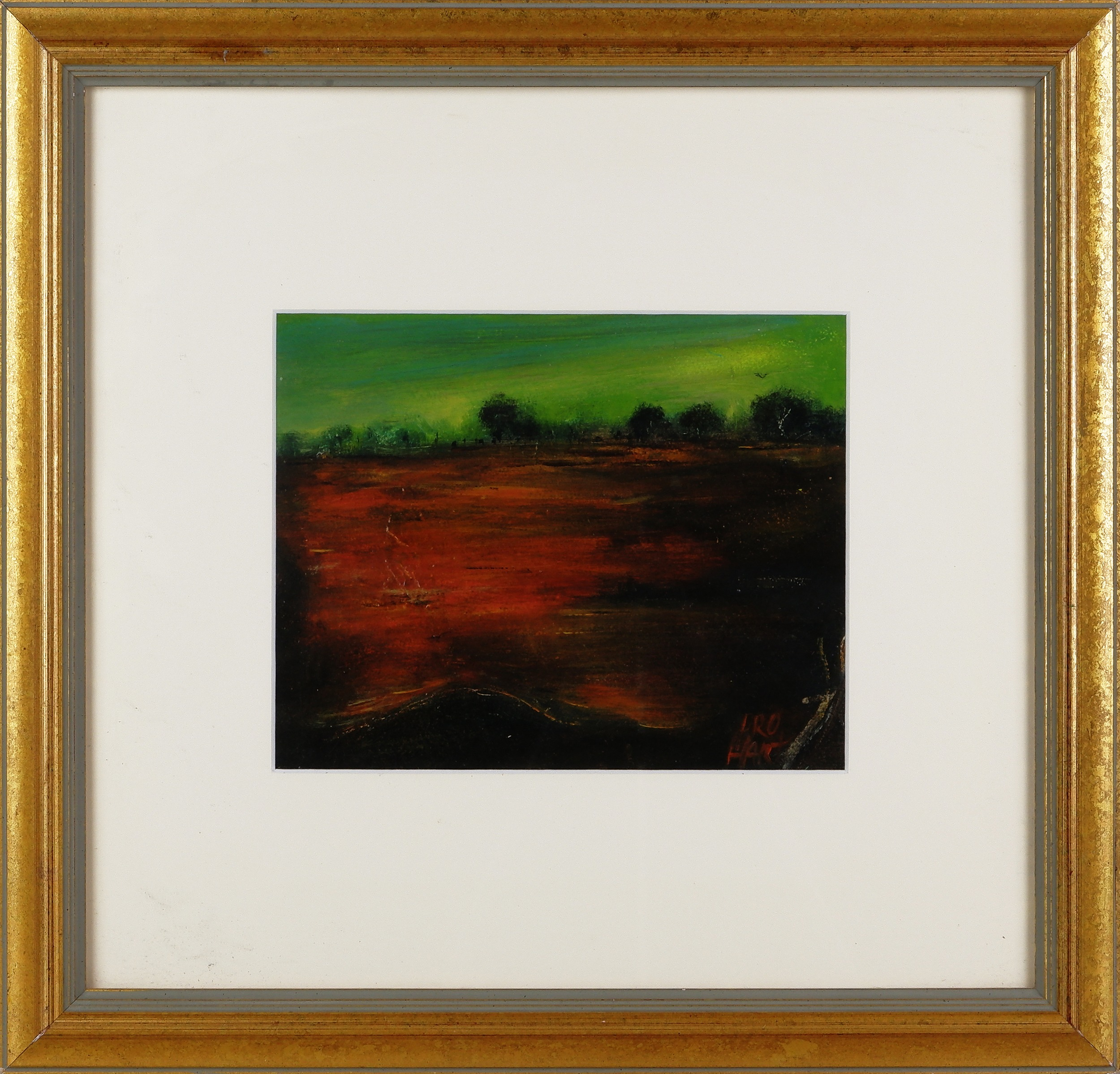 'Pro Hart (1928-2006), Outback Plain, Oil on Paper on Board'