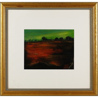 Pro Hart (1928-2006), Outback Plain, Oil on Paper on Board