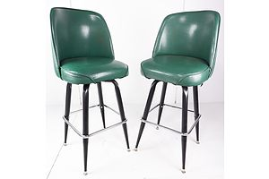 Pair of Retro Metal Framed Bar Stools with Green Vinyl Upholstery