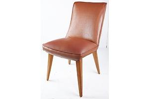 Retro Brown Vinyl Upholstered Side Chair