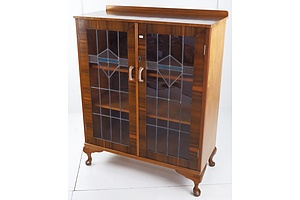 1920s Display Cabinet with Leadlight Doors and Cabriole Feet