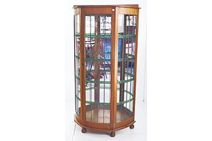 Unusual Tall Antique Display Cabinet with Leadlight Panel Doors and Sides, Mirrored Back and Glass Shelves