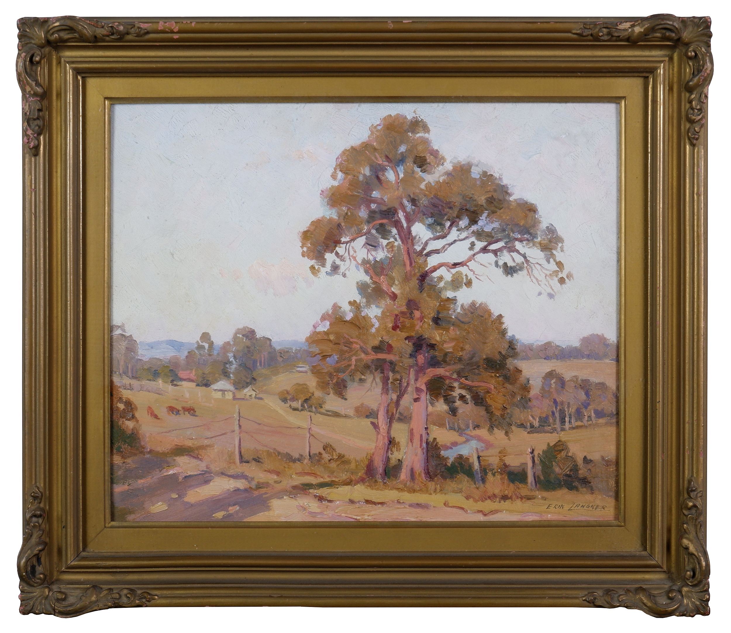 'Erik Langker (1898-1982), Untitled (Country Landscape), Oil on Board'