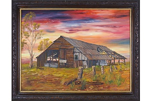 A. F. Paulik (20th Century), Untitled (Barn at Sunset), Oil on Board