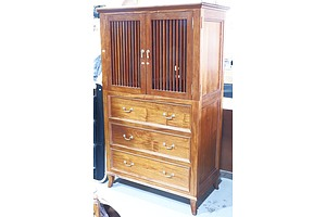 Vintage Style Entertainment Cabinet with Birdcage Doors and Three Drawers