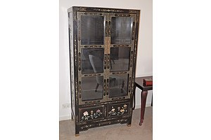 Chinese Black Lacquer and Hardstone Embellished Display Cabinet, 20th Century
