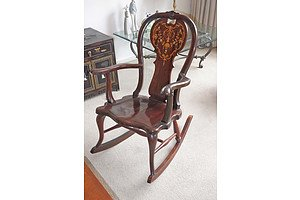 Antique Rocking Chair with Shell and Fruitwood Inlay