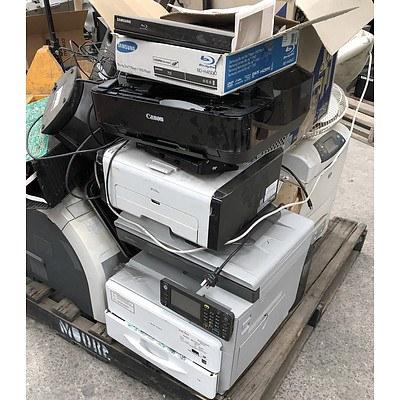 Bulk Lot of Assorted IT & Office Equipment - AC Adapters, Printers & Desk Fan
