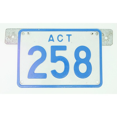 ACT Number Plate 258