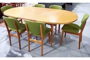Retro Butterfly Extension Dining Table with Six Green Fabric Upholstered Chairs