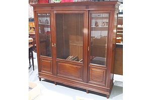 Large Teak Display/Bookshelf Cabinet with Two Glass and One Mesh Panel Door