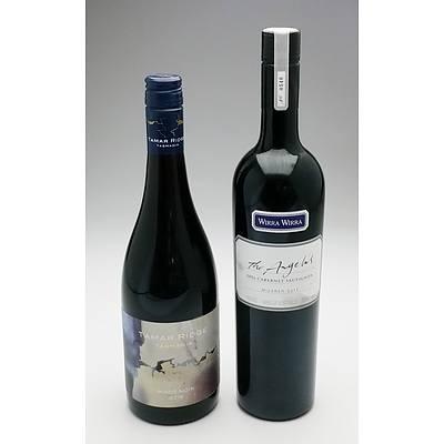 Wirra Wirra 'The Angelus' 2006 Cabernet Sauvignon and Tamar Ridge Tasmania  2015 Pinot Noir (2)