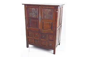 Reproduction Glasgow School Arts and Crafts Style Storage Cabinet with Eight Drawers and Decorative Copper Panels to Doors, Late 20th Century
