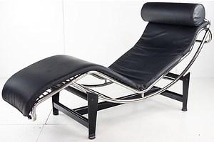 Replica Le Corbusier Black Leather Sun Lounge