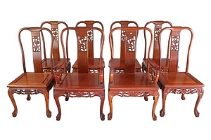 Chinese Camphor Lourel Extension Dining Table with Eight Chairs with Carved Decoration