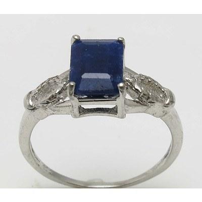 Sterling Silver Sapphire & Diamond Ring