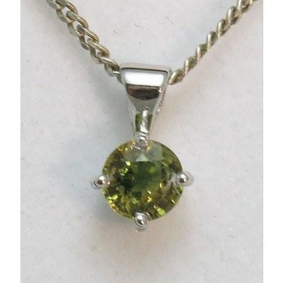 Australian Sapphire Pendant - 18ct White Gold