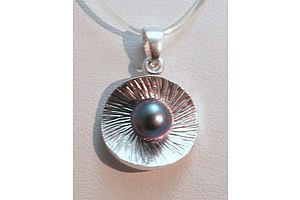 Sterling Silver Black Freshwater Pearl Pendant
