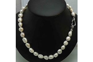 Necklace of Large Cultured Pearls: 10-14mm Long