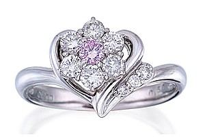 Platinum Pink & White Diamond Ring