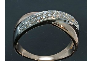 Rose & White Gold Diamond Ring-9ct