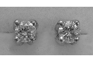 9ct White Gold Round Brilliant-Cut Diamond Earrings