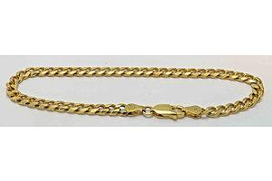 9ct Yellow Gold Bracelet - Solid Diamond-Cut Curb Links