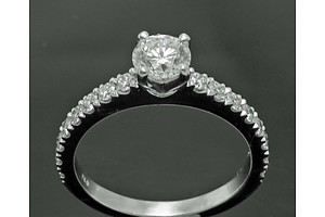 Certified Round Brilliant-Cut Diamond Ring. Total Diamond Weight = 1.04 Cts