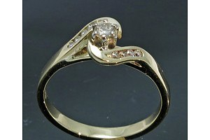 9ct Gold 9 Stone Diamond Ring