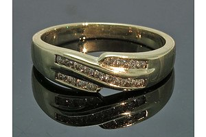9ct Gold Channel-Set Diamond Ring