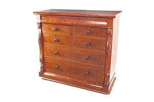 Large Mid-Victorian Flame Mahogany Chest of Six Drawers with Carved Floral and Claw Foot Columns