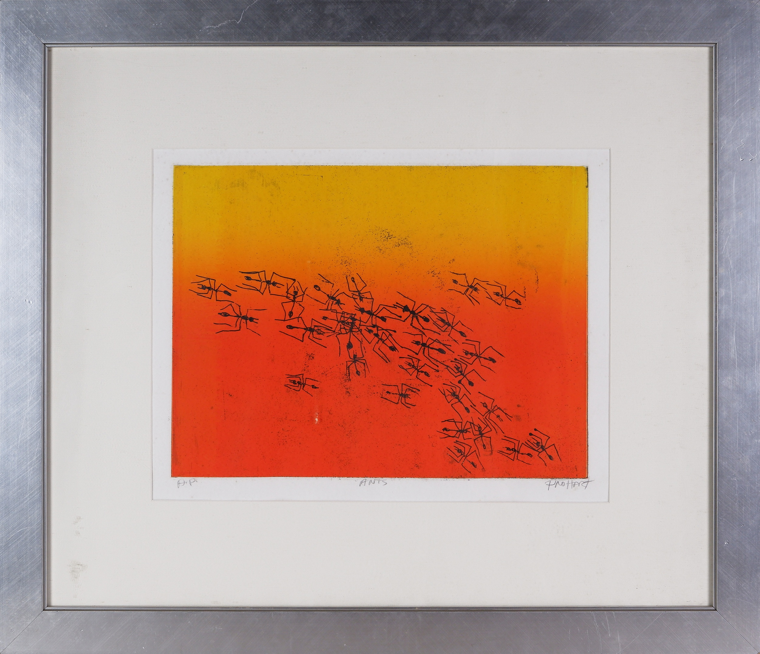 'Pro Hart (1928-2006), Ants, Coloured Etching'