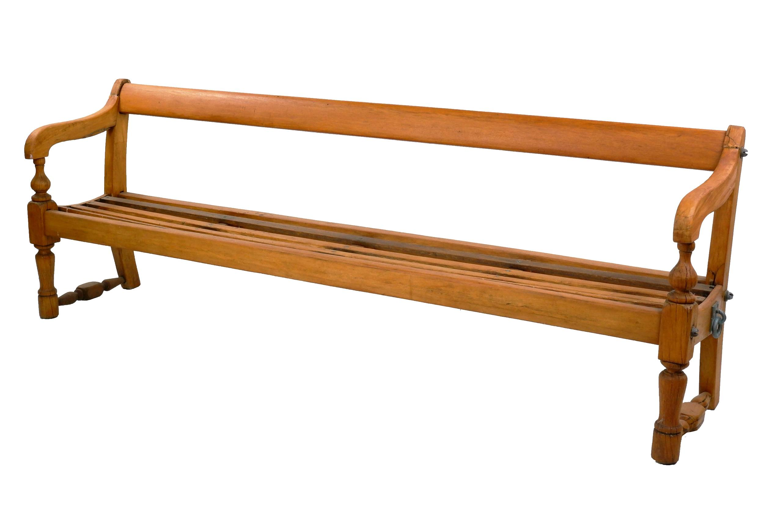 'Antique Pine Sydney Ferries Bench, with Original Metal Lashing Fittings, Early 20th Century'