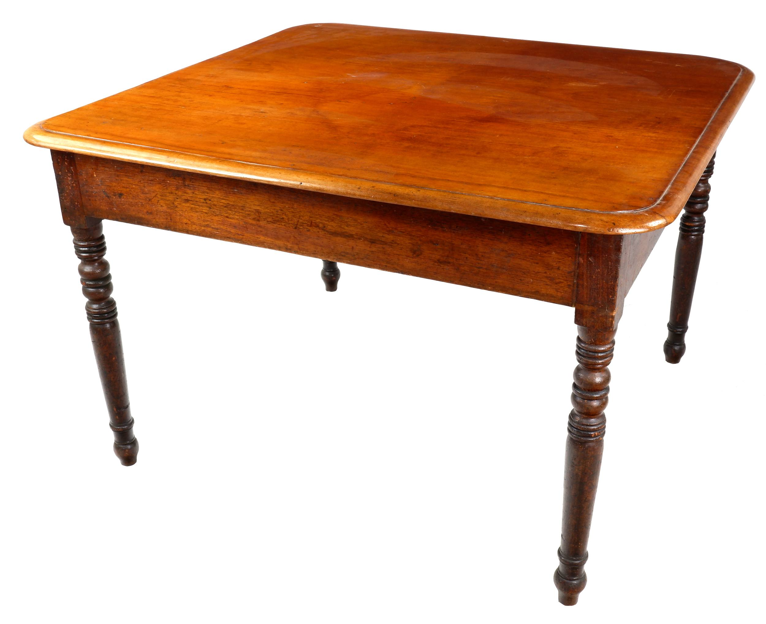 'Antique Cedar Farmhouse Table with Finely Turned Legs, Mid to Late 19th Century'