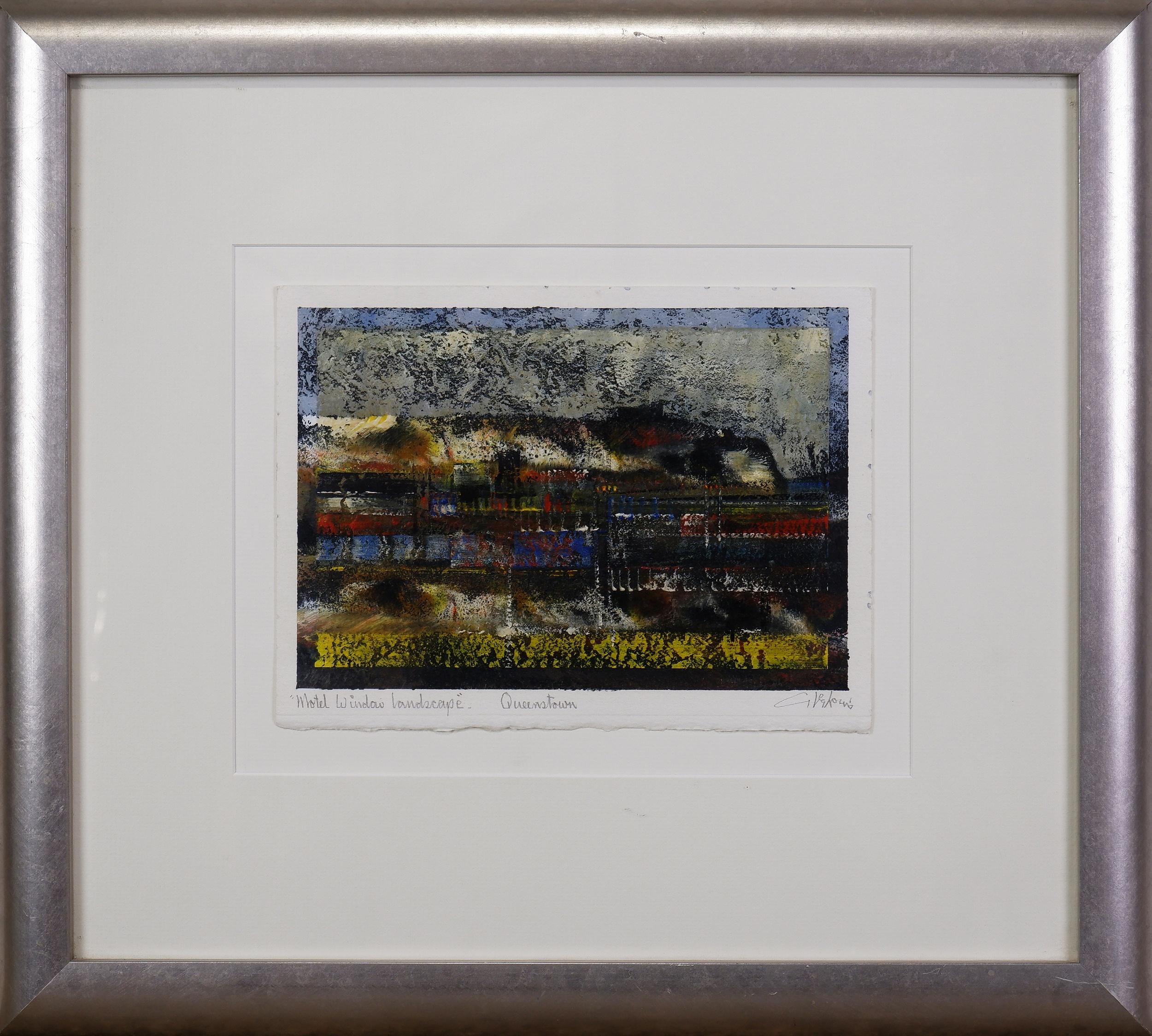 'Tom Gleghorn (born 1925), Motel Window Landscape, Queenstown, Tasmania 1996, Mixed Media on Paper'