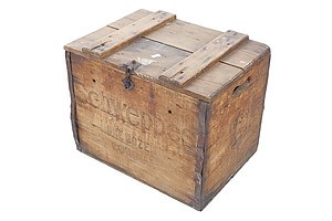 Vintage Lidded Wooden Crate - Schweppes Cordial One Dozen Bottles