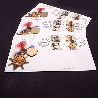 Three Australian Legends The Last ANZACs First Day Covers with $1 Commemorative Coin