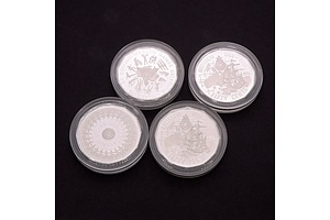 Four Silver Proof 50 Cent Coins, Ex Master Piece Sets