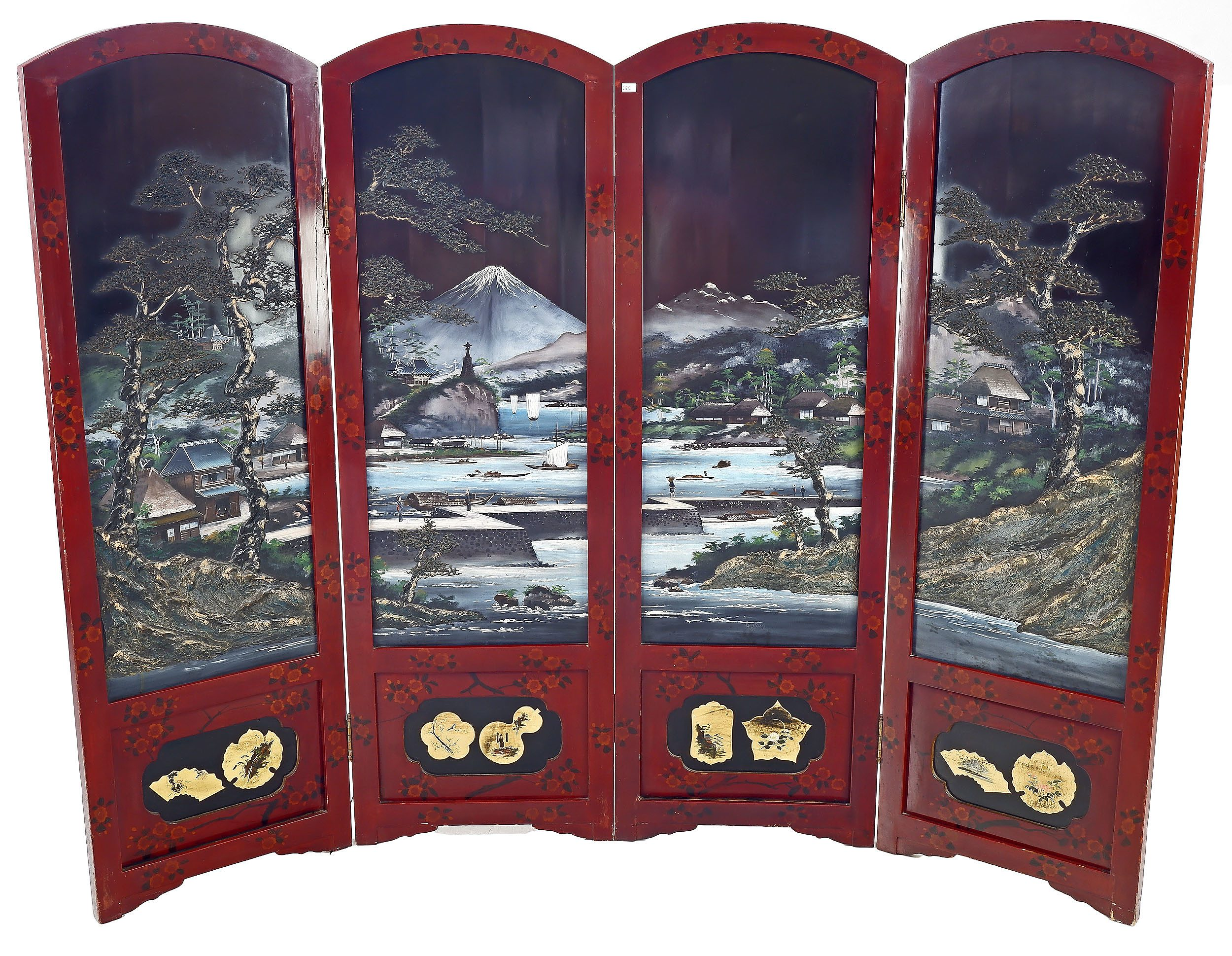 'Good Japanese Red and Black and Polychrome Lacquer Painted Four-fold Floor Screen, Meiji Period 1868-1912'