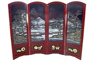 Good Japanese Red and Black and Polychrome Lacquer Painted Four-fold Floor Screen, Meiji Period 1868-1912