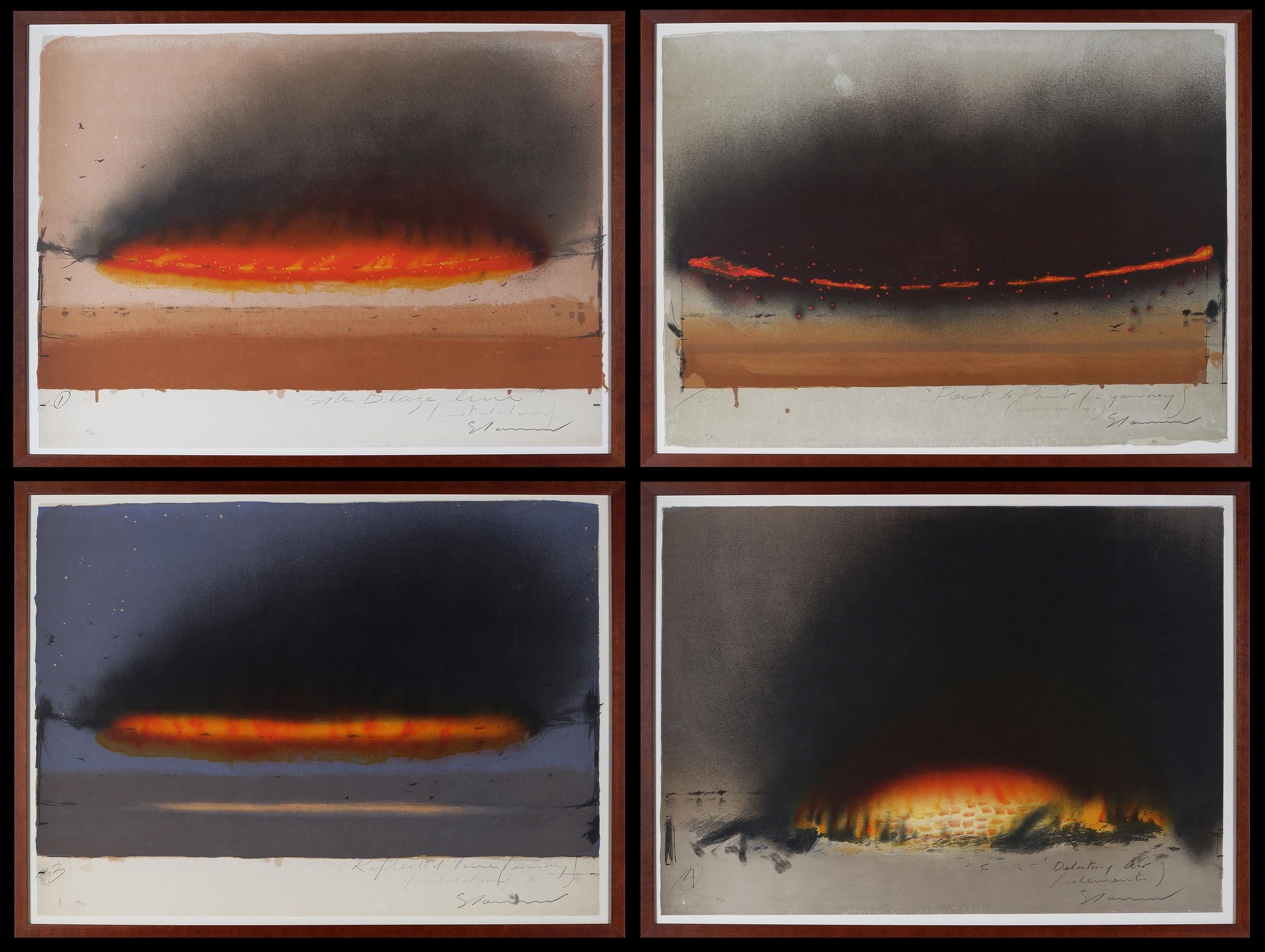 'Tim Storrier (born 1949), Blaze Line Quartet: i) Site Blaze Line (Installation); ii) Point to Point (A Journey/ Across); iii) Reflected Line (Evening) (Installation), iv) Fire (Elements), Lithograph'