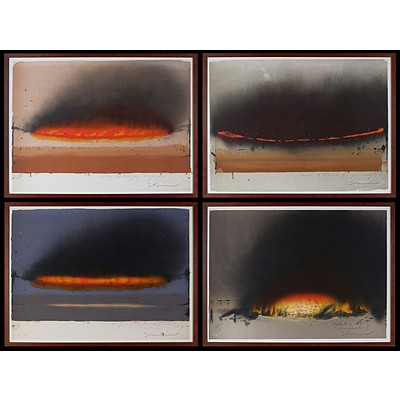 Tim Storrier (born 1949), Blaze Line Quartet: i) Site Blaze Line (Installation); ii) Point to Point (A Journey/ Across); iii) Reflected Line (Evening) (Installation), iv) Fire (Elements), Lithograph