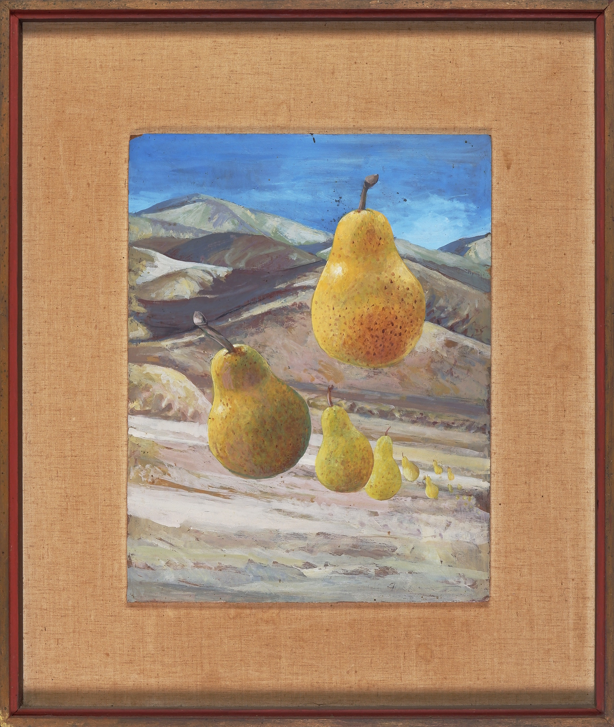 'William Fletcher (1924-1983), Travelling Pears, Oil on Board'
