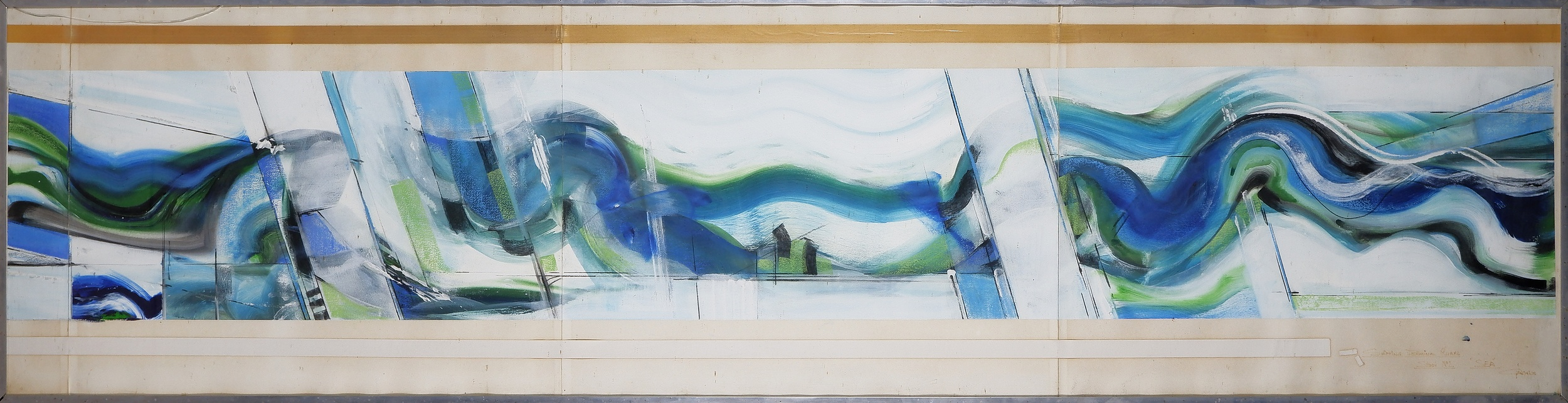 'Thomas Gleghorn (born 1925), Blue and Green Wave, Mixed Media on Paper'