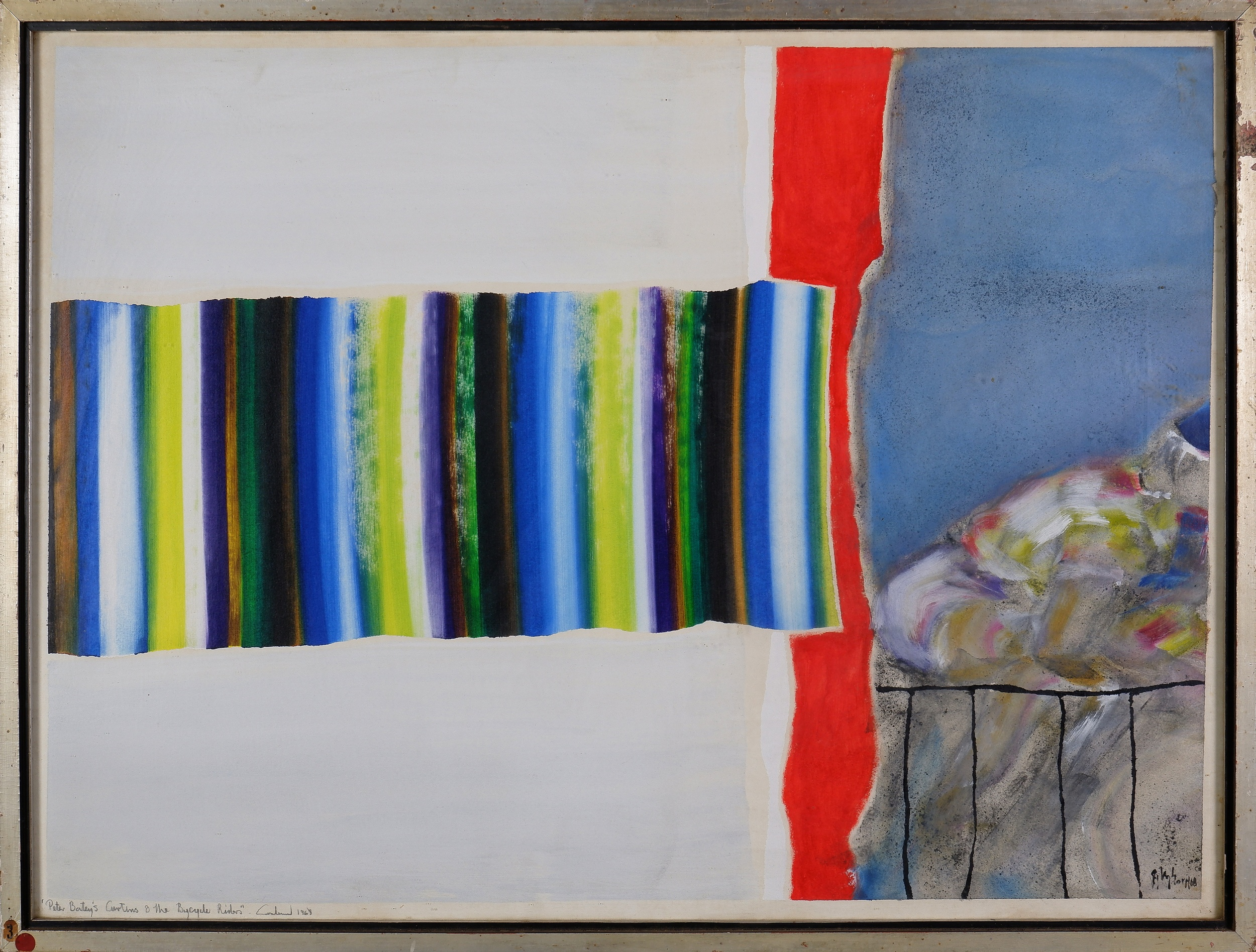 'Thomas Gleghorn (born 1925), Peter Bateys Curtains and the Bicycle Riders 1968, Mixed Media on Paper'