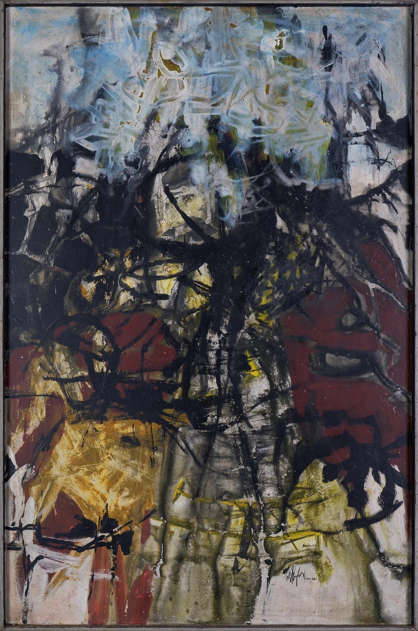 'Thomas Gleghorn (born 1925), Between Two Seasons 1960, Oil on Board'